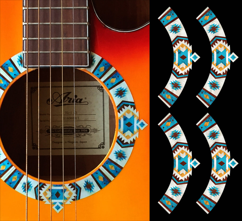 Native American Style Ethnic Pattern Purfling (Turquoise) Sound hole Inlay Sticker For Guitar