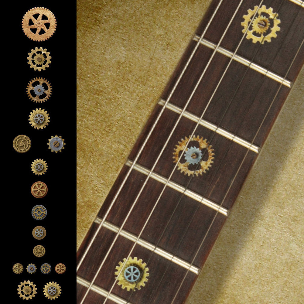 Steampunk Gear Fret Markers Inlay Stickers Decals Guitar & Bass