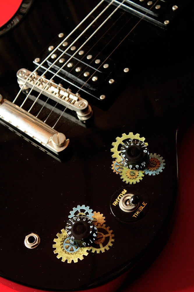 Guitar Volume Tone Knob - Steampunk Gear Set Stickers - Inlay Stickers Jockomo