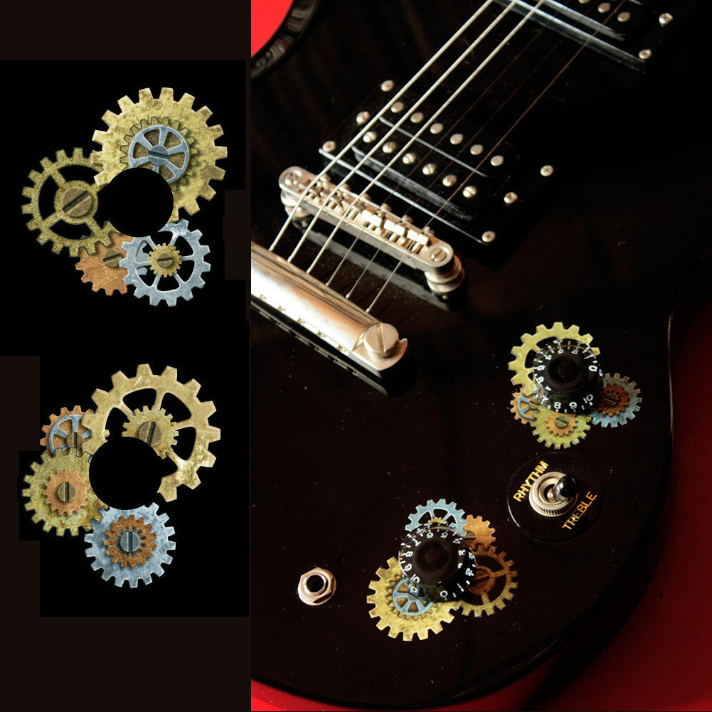 Guitar Volume Tone Knob - Steampunk Gear Set Stickers