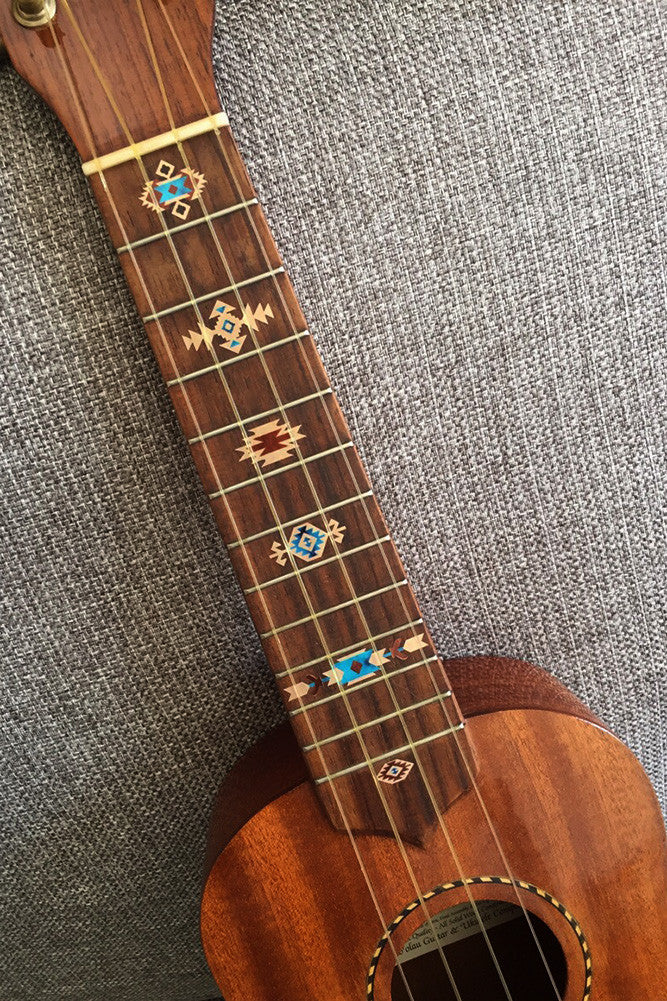 Native American Style / Ethnic Pattern (Natural) - Fret Markers for Ukuleles - Inlay Stickers Jockomo