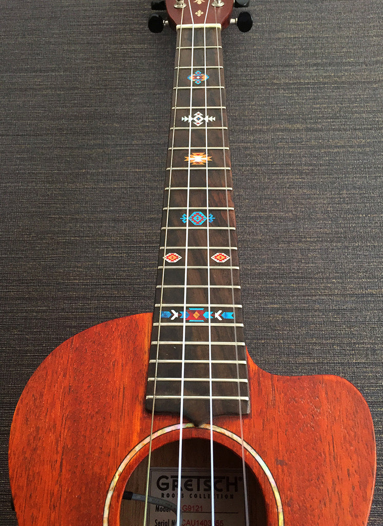 Native American Style / Ethnic Pattern (Turquoise) - Fret Markers for Ukuleles - Inlay Stickers Jockomo