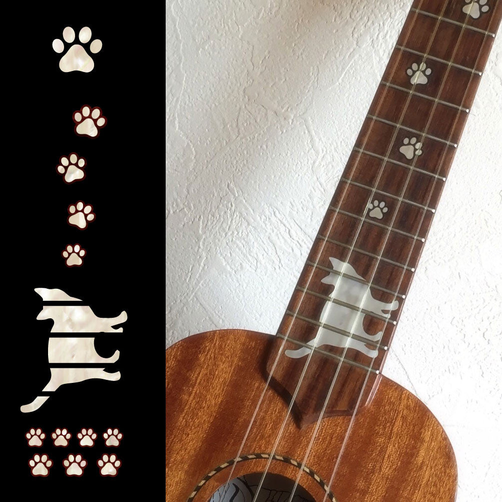 Cat Foot Prints / Paws - Fret Markers for Ukuleles - Inlay Stickers Jockomo