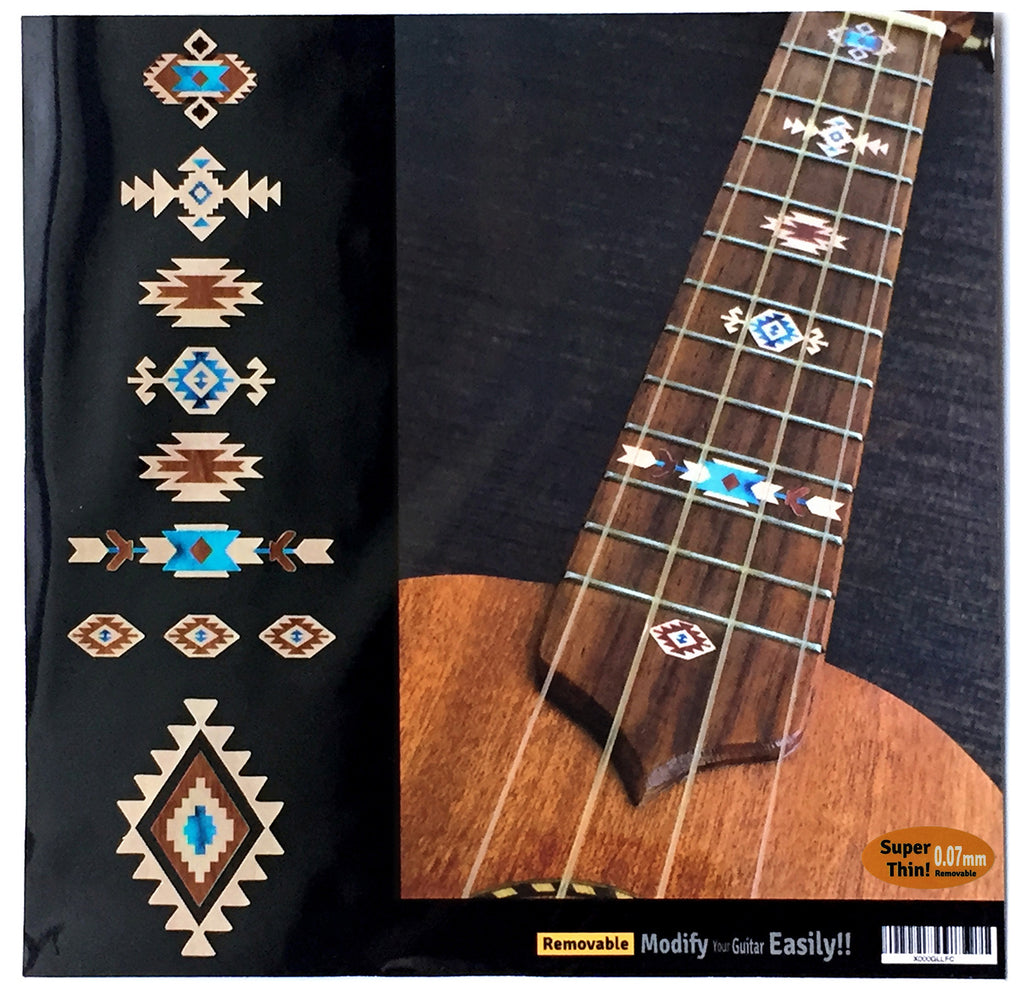 Native American Style Ethnic Pattern Fret Markers Ukulele (Natural) - Inlay Stickers Jockomo