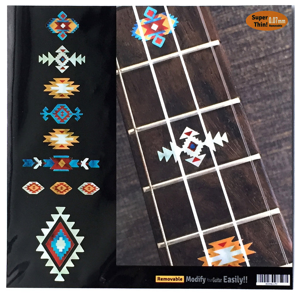 Native American Style Ethnic Pattern Fret Markers Ukulele (Turquoise) - Inlay Stickers Jockomo