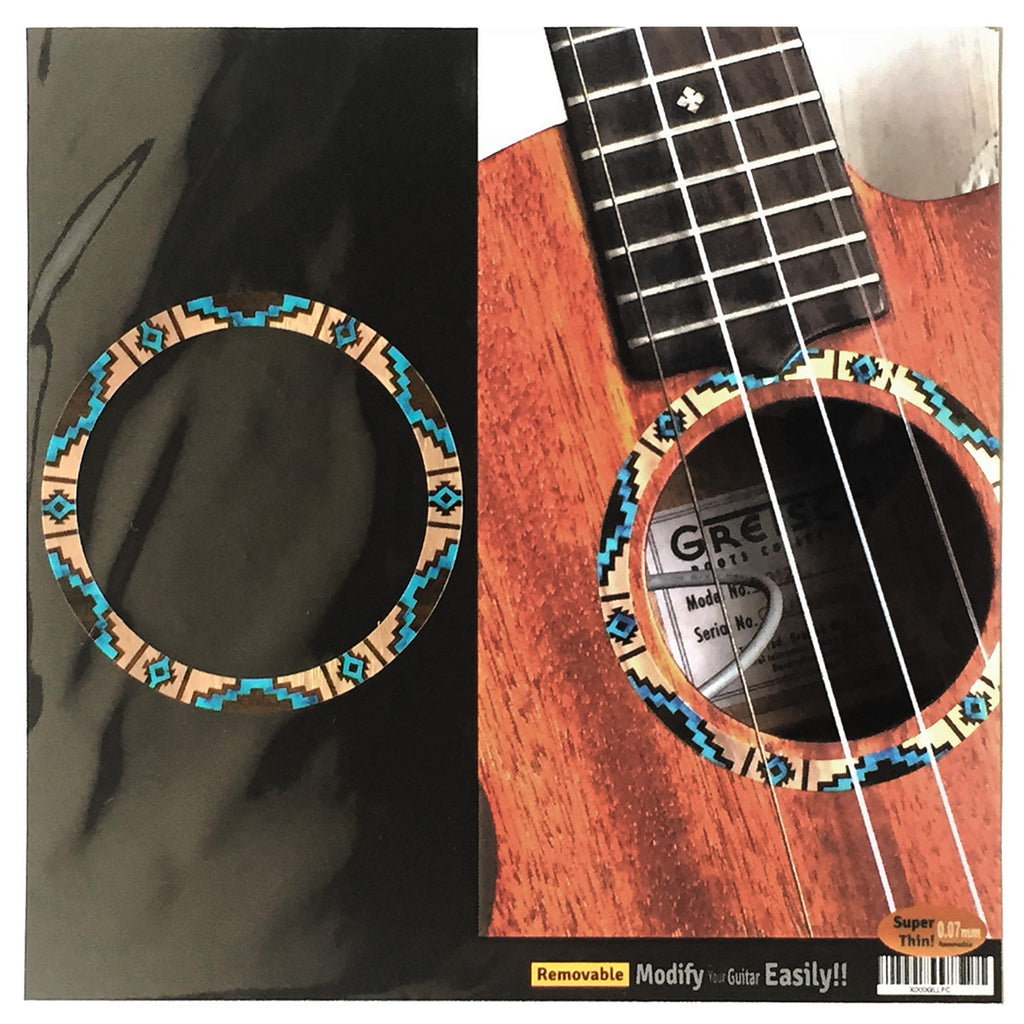 Native American / Ethnic Pattern (Natural) Purfling for Ukuleles - Inlay Stickers Jockomo