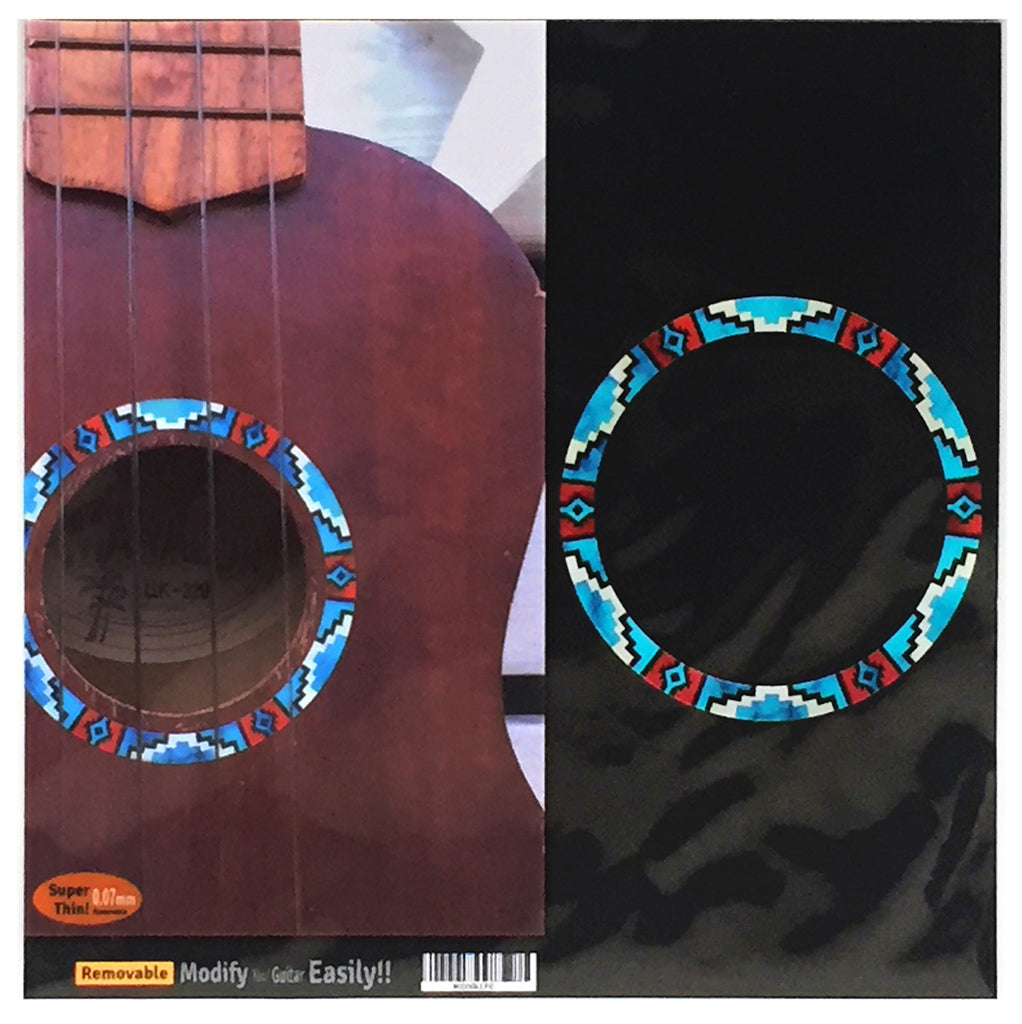 Ukulele Native American Style Ethnic Pattern Purfling (Turquoise) Sound hole Inlay Sticker Decal
