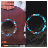 Ukulele Native American Style Ethnic Pattern Purfling (Turquoise) Sound hole Inlay Sticker Decal - Inlay Stickers Jockomo