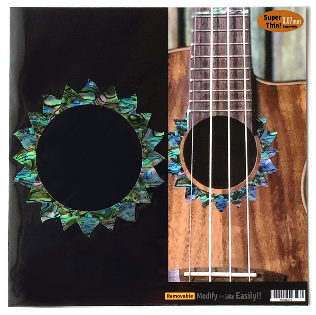 Ukulele Sun Purfling (Abalone) Sound hole Inlay Sticker Decal - Inlay Stickers Jockomo
