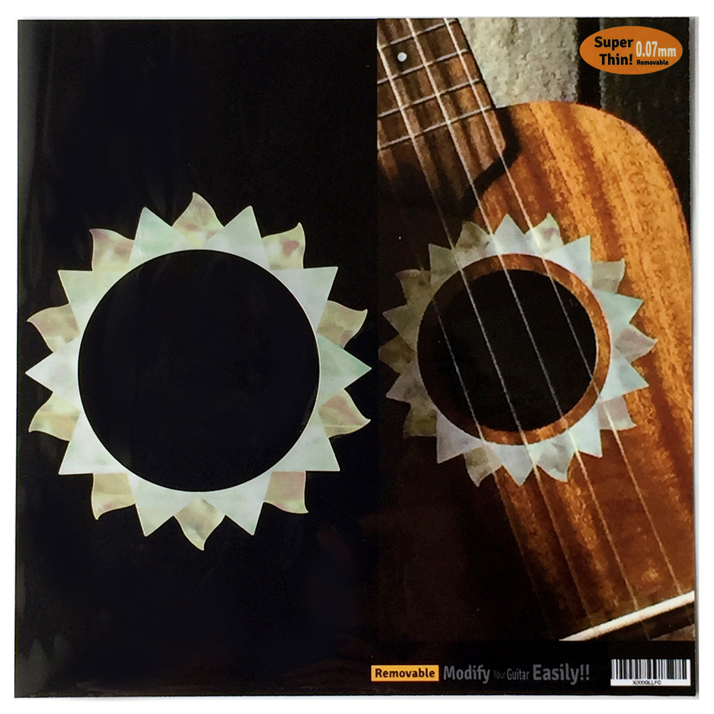 Ukulele Sun Purfling (White Pearl) Sound hole Inlay Sticker Decal - Inlay Stickers Jockomo