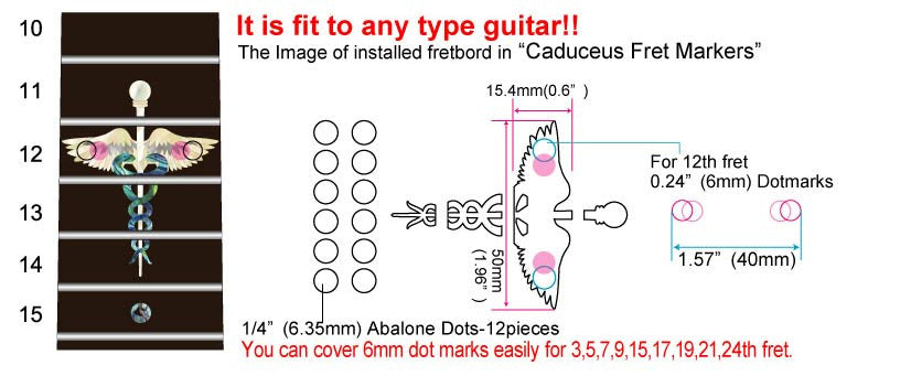 Caduceus(Snakes on a sword) Fret Markers  Inlay Stickers Decals Guitar - Inlay Stickers Jockomo
