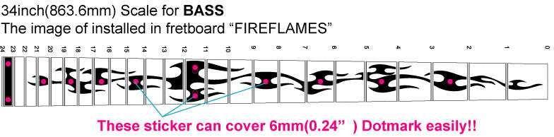 Fire Flames - Fret Markers for Bass - Inlay Stickers Jockomo