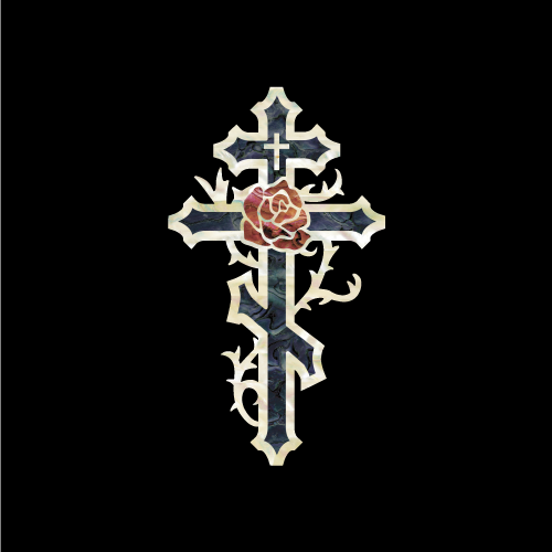 Cross & Rose (Small) - Inlay Stickers Jockomo