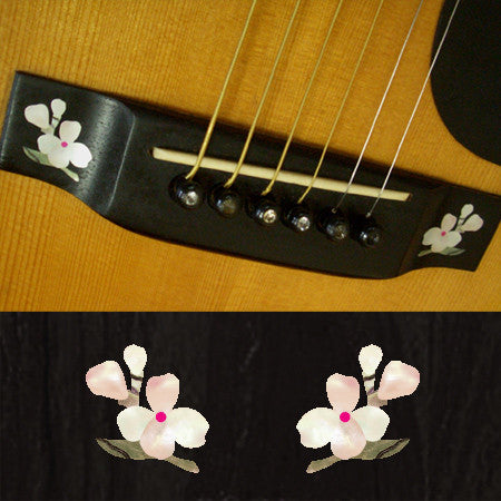 Guitar Bridge Inlay Stickers Decals Floweret 2pcs/set - Inlay Stickers Jockomo