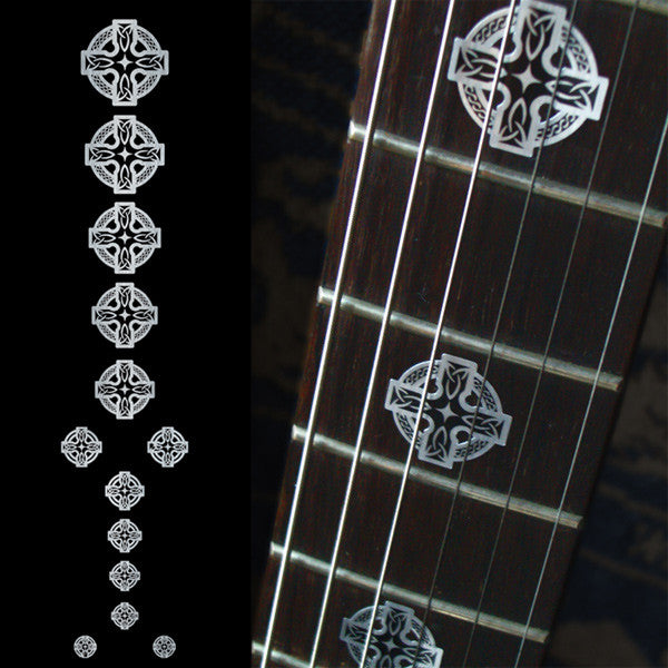 Celtic Cross (Metallic) Fret Markers Inlay Stickers Decals for Guitar & Bass - Inlay Stickers Jockomo