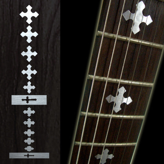 Cross (Metallic) Fret Markers Inlay Stickers Decals Guitar