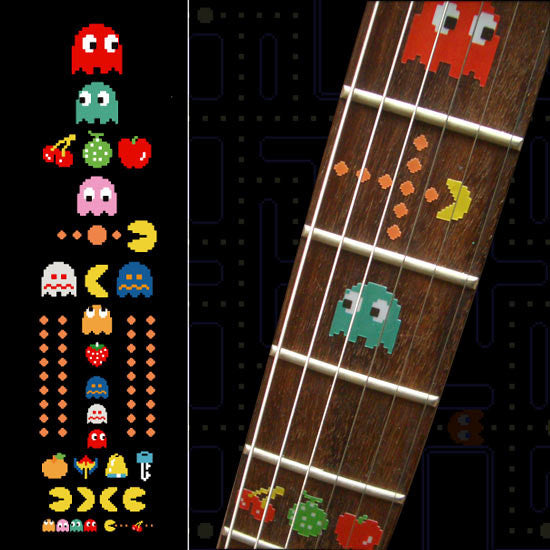 Pacman Fret Markers Inlay stickers Decals Guitar Bass