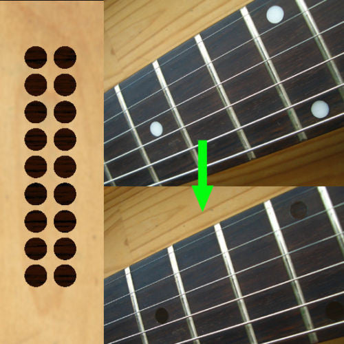 "1/4"" (6.35mm) Dots /Rosewood color Fretboard Markers Inlay Stickers Decals"