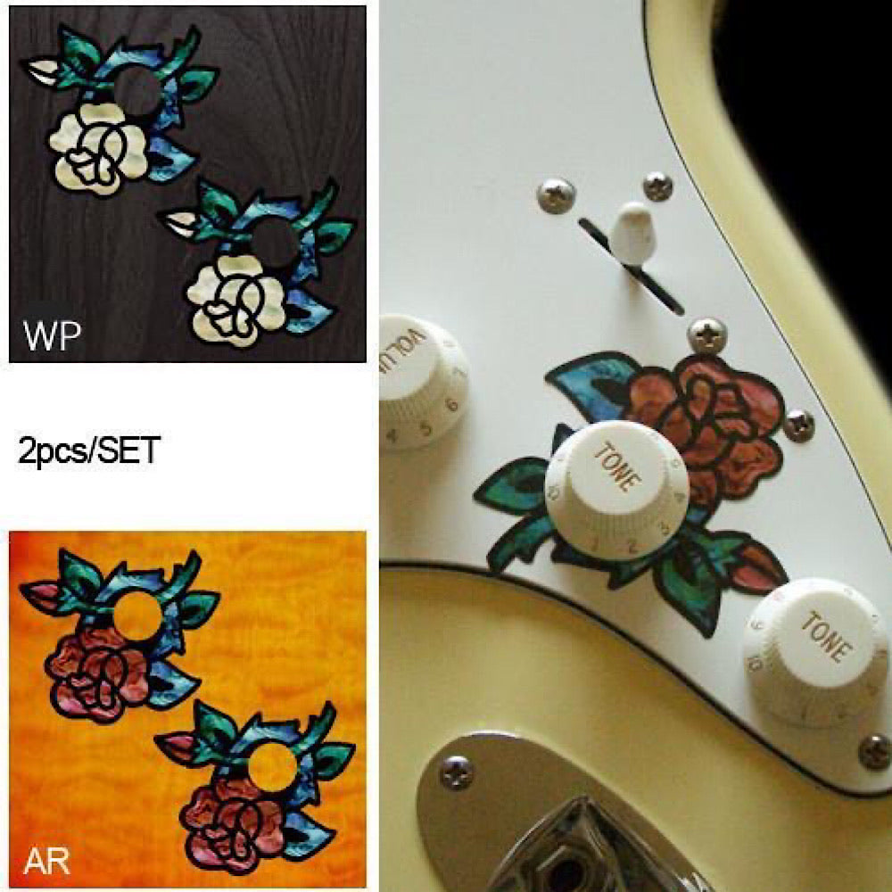 Roses - Volume & Tone Knobs Decals - Inlay Stickers Jockomo