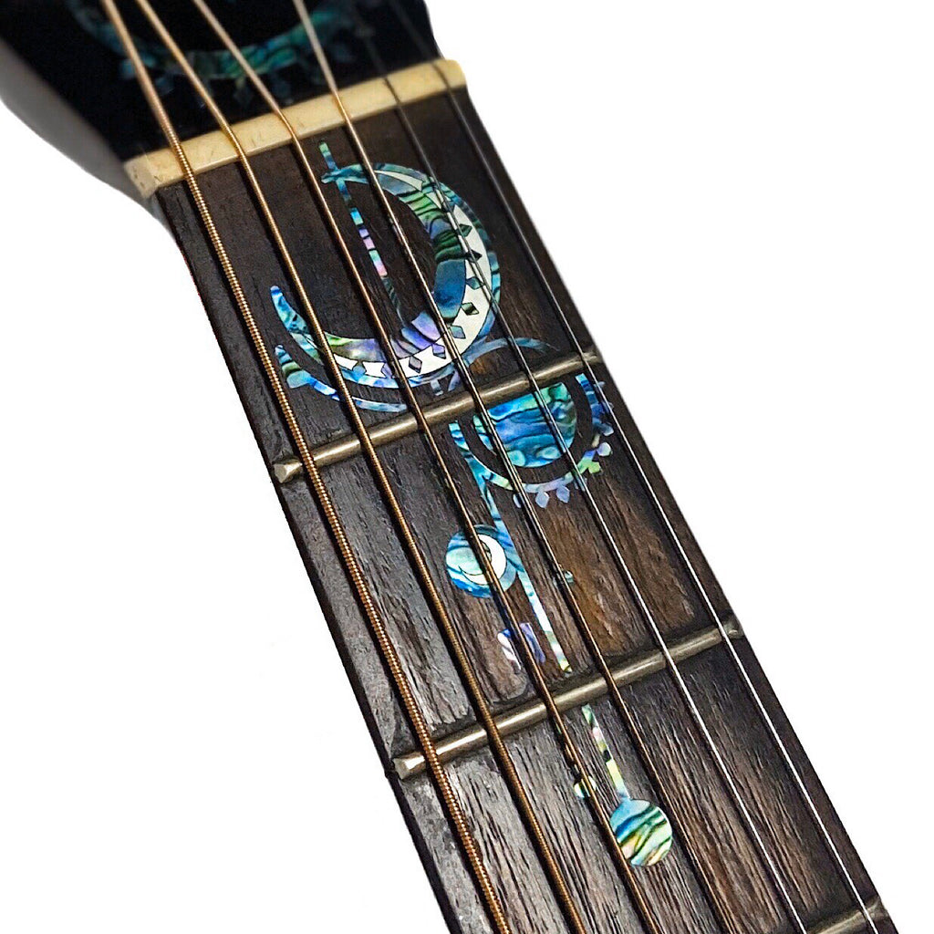 Geometric Sun & Moon - Head & Neck Inlay Sticker for Acoustic Guitars