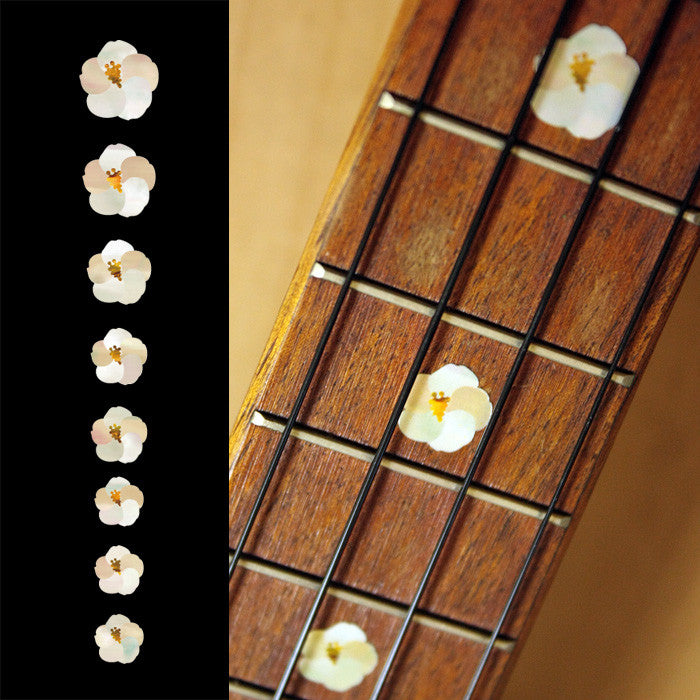 Hibiscus Flower Fret Markers For Ukulele - Inlay Stickers Jockomo
