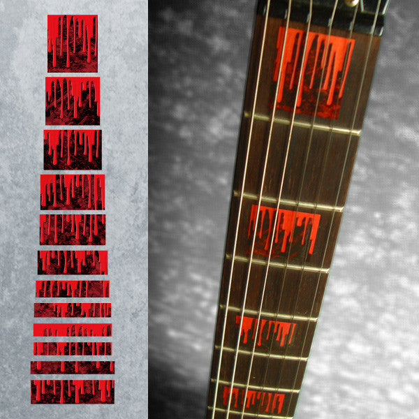Dripping Blood Blocks - Fret Markers for Guitars - Inlay Stickers Jockomo