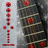 Dripping Blood Iron Cross Fret Markers Inlay Stickers Decals Guitar