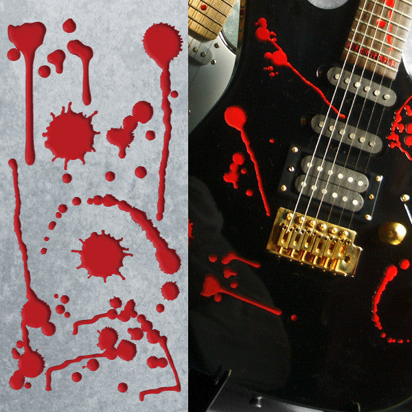 Splattered Blood SET Stickers Decals Guitar Bass
