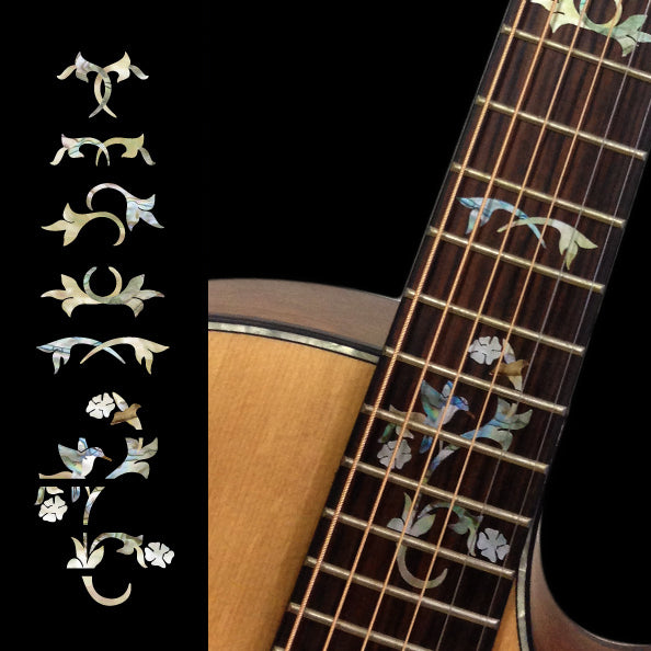 Winding Vine w/Bird Cindy - Fret Markers Inlay Stickers Decals for Guitars - Inlay Stickers Jockomo