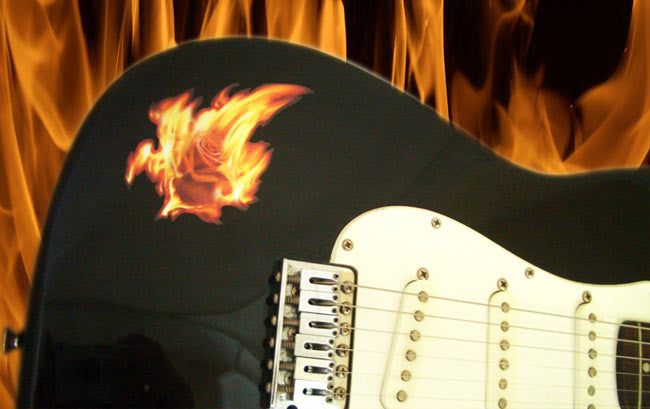 Real Fire Flame-Rose In The Fire  Inlay Stickers Decals