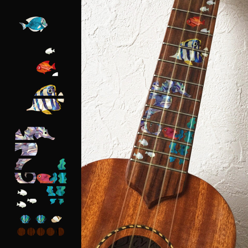 Small Sea World / Under The Sea - Fret Markers for Ukuleles - Inlay Stickers Jockomo