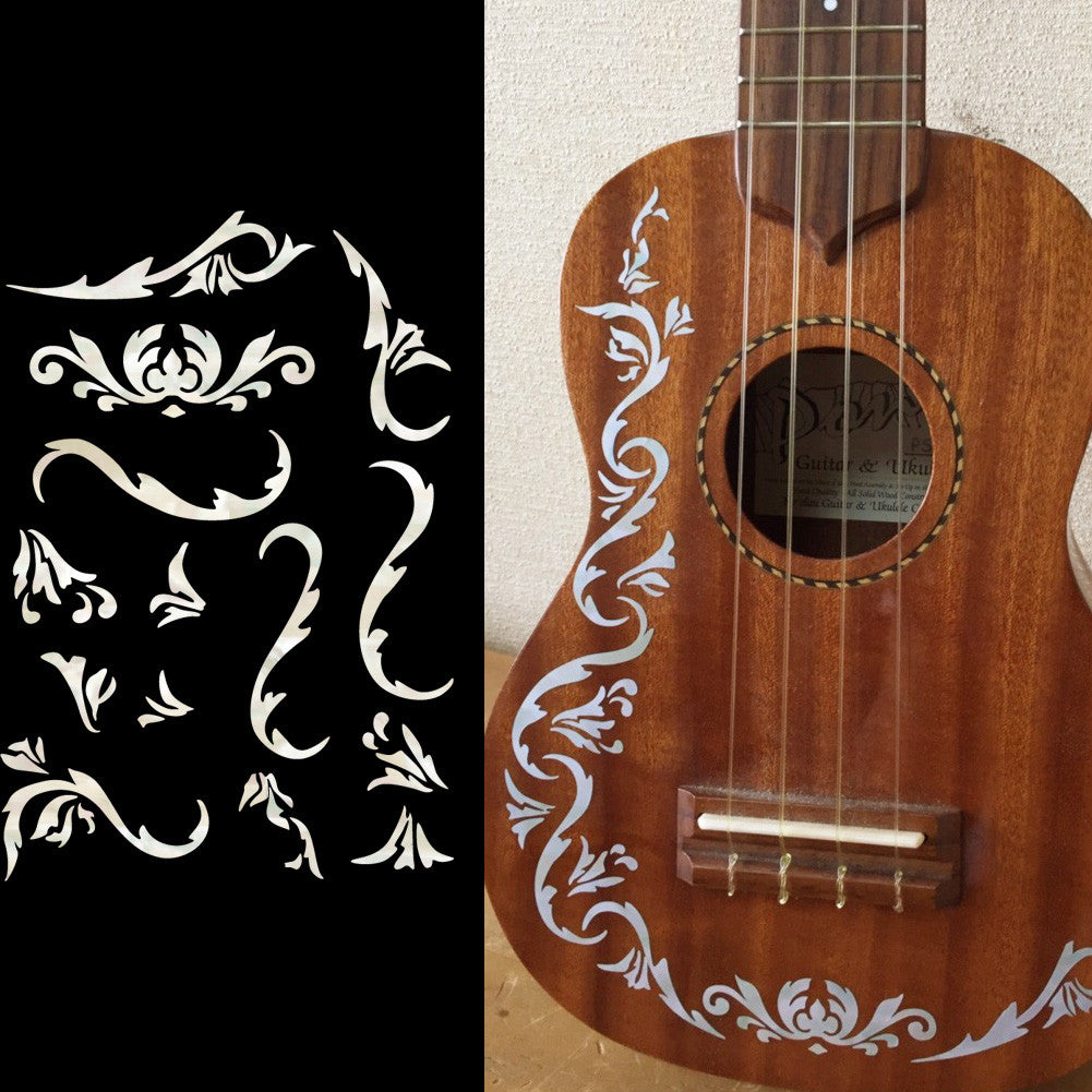 Ukulele Cowboy Fancy Inlay Sticker
