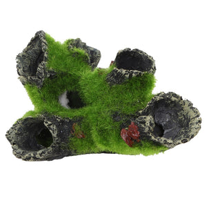 Artificial Mossy Tree Stump Fish Cave Decoration