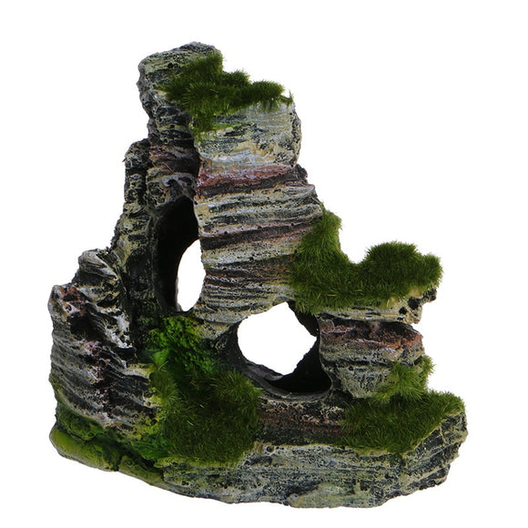 Artificial Mossy Swim-Through Aquarium Rock