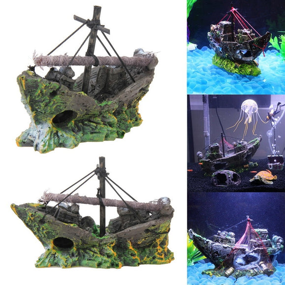 Sunken Ship Wreck Aquarium Ornament