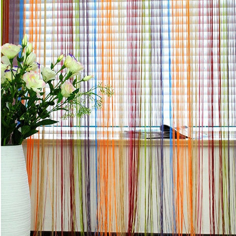 multi coloured string curtains