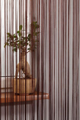 brown string curtain