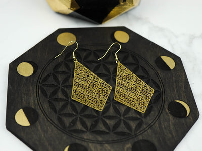 Lace diamond etched earrings top view