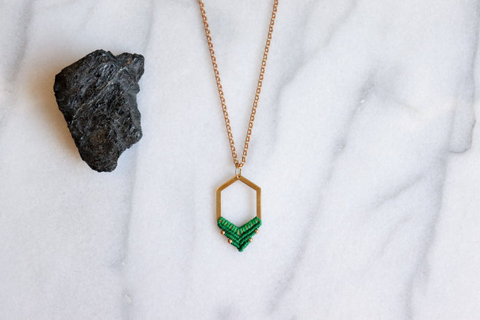 Big hexagon necklace in green