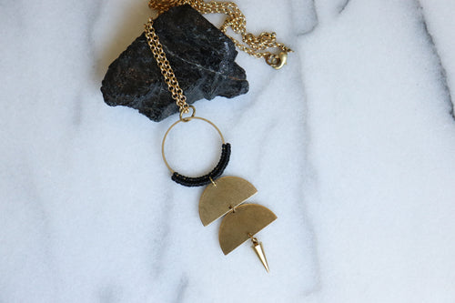 Statement half circle spike necklace