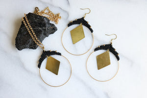 Statement rhombus necklace and earrings