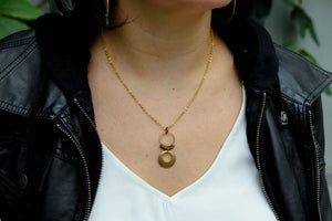 Big disc drop necklace