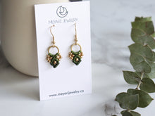 Load image into Gallery viewer, Pair of Green Arya macrame earrings made from raw brass.