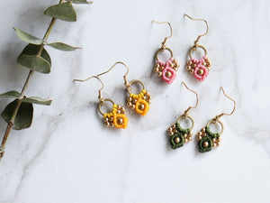 Three Pairs of Arya macrame earrings of yellow, pink and green colour.