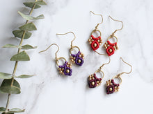 Load image into Gallery viewer, Three Pairs of Arya macrame earrings of Purple, red and wine colour.