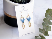 Load image into Gallery viewer, Marquise drop macrame earrings