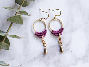 Simple drop macrame earrings
