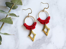 Load image into Gallery viewer, Hollow diamond drop macrame earrings