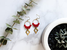 Load image into Gallery viewer, Top view of Red Hollow diamond style drop macrame earrings in white background.