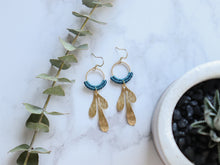 Load image into Gallery viewer, Brushed leaf macrame earrings